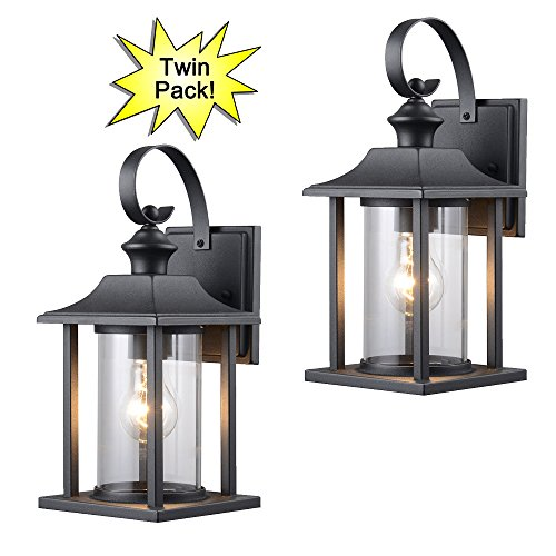 Hardware House 23 0414 Black Outdoor Patio Porch Wall Mount Exterior Lighting Lantern Fixtures With Clear Glass Twin Pack