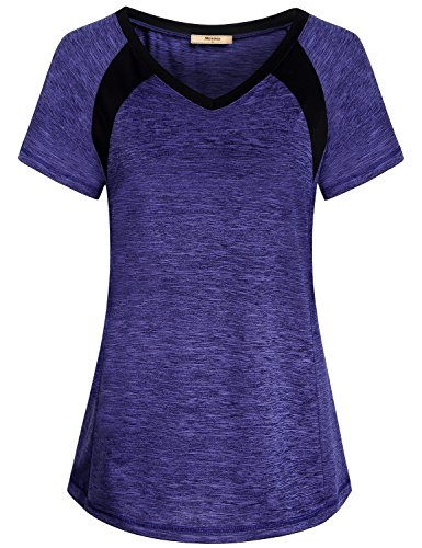 Miusey Exercise Shirts for Women, Gym Short Sleeve Casual Active Workout Running Blouse Colorblock Slim Fit Raglan Tops Activewear Outdoor Super Soft Roomy Blue XL
