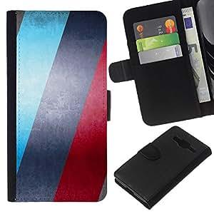 KLONGSHOP // Tirón de la caja Cartera de cuero con ranuras para tarjetas - AZUL Y ROJO RAYAS - Samsung Galaxy Core Prime //