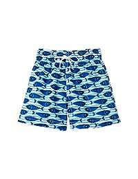 Azul Baby Boys Blue Here Fishy Fishy Print Drawstring Swim Shorts 12-24M