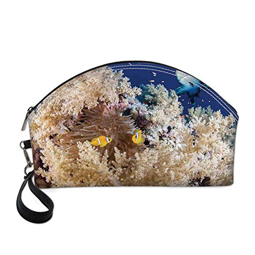 Sea Animal Decor Beautiful Women's semi circular cosmetic bag,Reef with Little Clown Fish and Sharks East Egyptian Red Sea Life Scenery For traveling,10.8