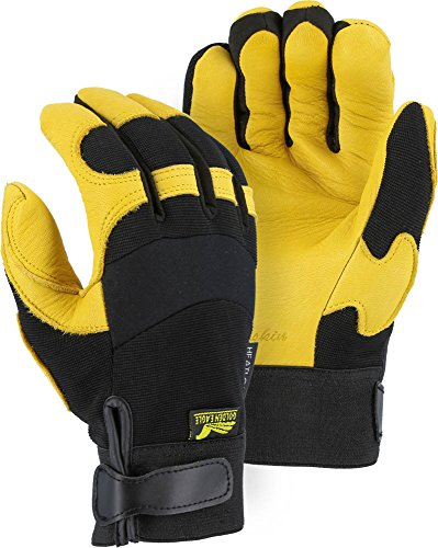 Golden Eagle Winter Lined Deerskin Leather Gloves with Windproof Heatlok (Mechanics Style), Large Eagle 123