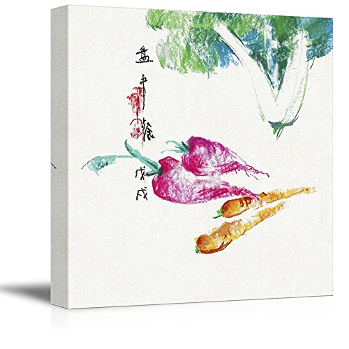 Square Watercolor Style Chinese Painting of Vegetables