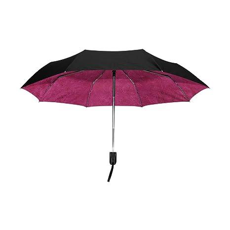 Mi Diario Desigual rosa rojo viaje automático abrir/cerrar paraguas con Anti-UV resistente al viento ligero: Amazon.es: Deportes y aire libre