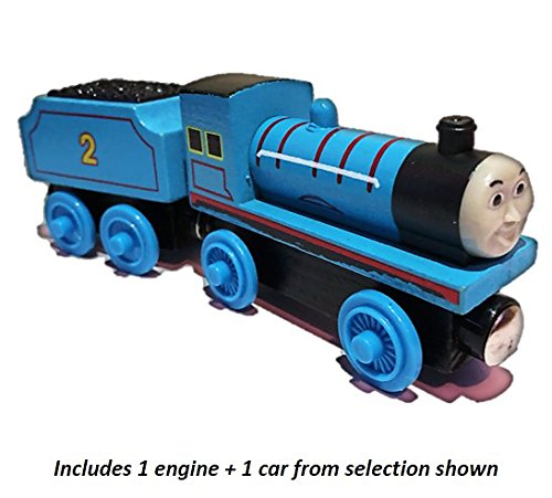 Magnetic Wooden Train Car Set works with Thomas and Friends Wooden Train Sets (Pack of 2) (Train Cars Thomas)