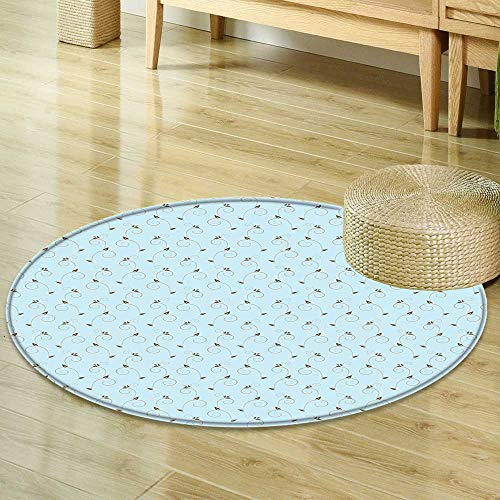 Rug Cocoa Flower (Mikihome Round Rugs for Bedroom Damask Vintage Chevron Pattern in Two Colors with Embellished Flowers Print Light Blue Cocoa Sepia Circle Rugs for Living Room R-35)