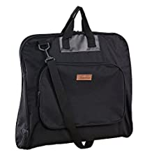 MYBESTFURN Waterproof 41 Inch Travel Carry On Garment Bag Business Suit Carry Bag Black