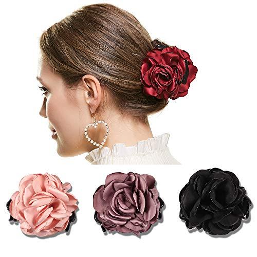 4 Pack Flower Shape Big Hair Clips For Women Fashion Headwear (color 1)