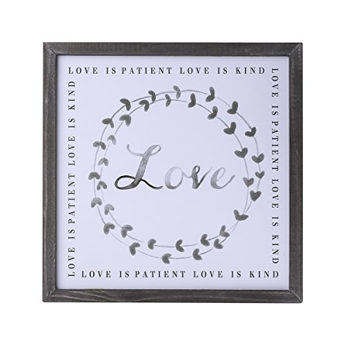 NIKKY HOME Wood Framed Wreath Wall Art Print with Inspirational Quote - Love is Patient Love is ()