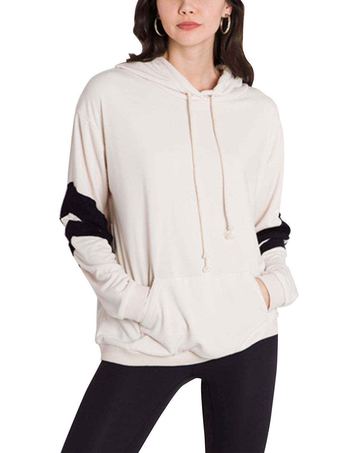 Blooming Jelly Womens Long Sleeve Color Block Pocketed Drawstring Pullover Hoodies White