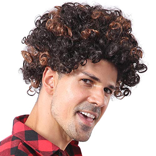 starcourtyard 70s Afro Brown Curly Wig for Men Funny Short Rocker Wig Halloween Party Mens Wig