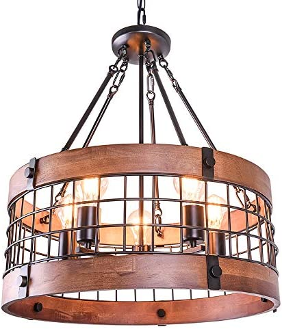 OYIPRO Vintage Industrial Kitchen Island Light, 5 Lights Retro Wooden Chandeliers Light Fixture Circular Wood Frame Metal Cage Hanging Pendant Ceiling Light Luminaire