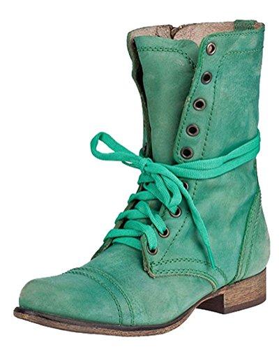 Ankle Boots Casual Lacets Classiques Martin Bas Minetom Bloc Unie Bootie Chaussures PU Bottes Talons Femme Hiver Automne Couleur Mode Bottes FnqTSxU