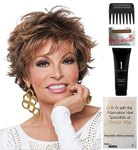 Bundle - 5 items: Voltage by Raquel Welch Wig, Christy's Wigs Q & A Booklet, Wig Shampoo, Wig Cap & Wide Tooth Comb (Color Selected: R829S+) -