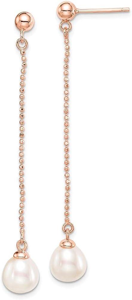 Saris and Things Sterling Silver Rose-Tono 18k Flash pl-7-8m m fwc Pendientes de Gota de la Perla