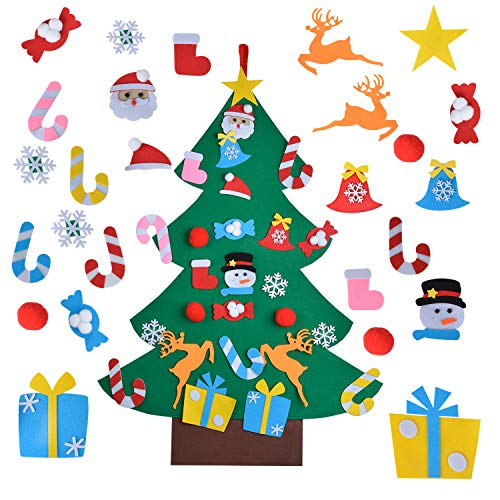 Aniwon DIY Felt Christmas Tree with 26Pcs Detachable Ornaments Door Wall Hanging Decorations Christmas Toys for Kids Xmas Gifts