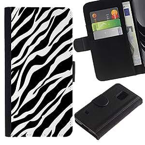 LASTONE PHONE CASE / Lujo Billetera de Cuero Caso del tirón Titular de la tarjeta Flip Carcasa Funda para Samsung Galaxy S5 V SM-G900 / Lines Fur Pattern Black White Clean