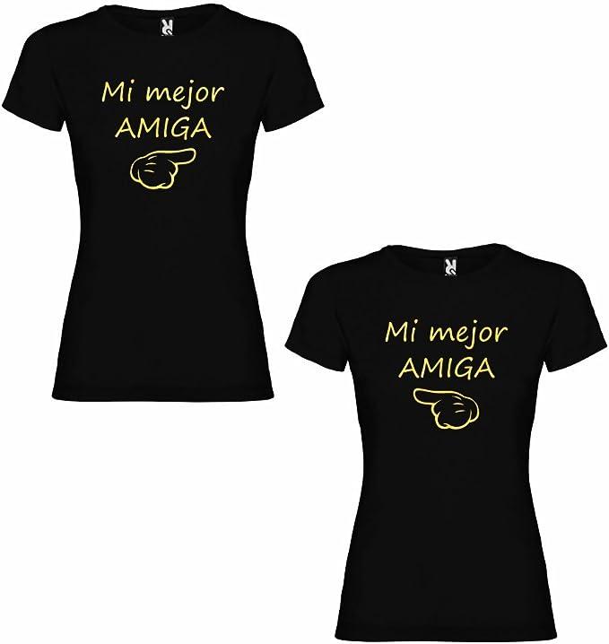 DALIM Pack de 2 Camisetas Negras para Mejores Amigas, Mi Mejor Amiga Dorado: Amazon.es: Ropa y accesorios