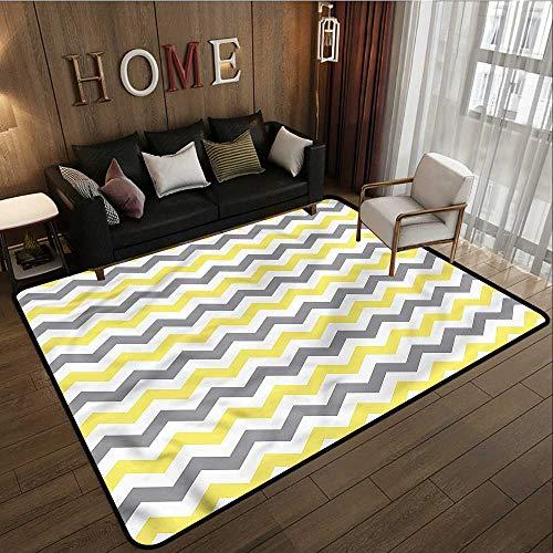 Kids Rug Geometric Horizontal Chevron Zigzag Anti-Slip Doormat Footpad Machine Washable 6'6