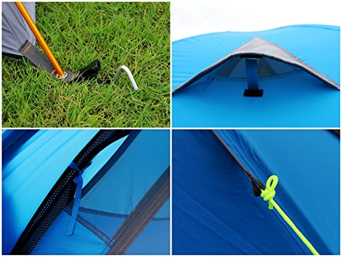 GEERTOP 3-4 Season Tent for Camping 2-3 Person Double Layer Lightweight Backpacking Freestanding Outdoor Hiking Waterproof Backpack Tents - Easy to Set Up 6 【Large Space】Tent size is 83(L) x 71(W) x 47.2(H), with extral vestibule to put the camping gears, luggage; it is a roomy camping travel dome tent with plenty of space for you and a family member or friends; Providing a comfortable and spacious outdoor shelter that comfortably fits 2 man or 3 person 【Waterproof Tent】Geertop 3 season tent - 210D PU5000 mm waterproof Oxford cloth ripstop floor + 210T PU3000 mm anti-tear plaid polyester tent fly while double-sided adhesive waterproof strip seam, ensure water does not make its way into the inside of tent , offer a comfortable camping experience 【Excellent Ventilation 】The camping inner tent made of 210T breathable polyester + high density fine nylon mesh with 2 doors + 2 ventilation windows + 2 vestibule, allowing for greater airflow throughout the tent, avoiding bothered by stuffiness