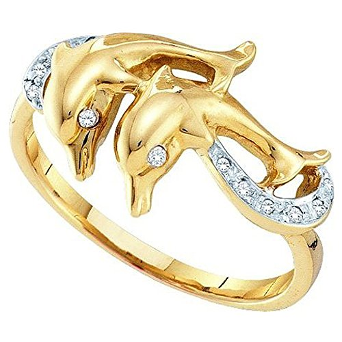 Dazzlingrock Collection 0.05 Carat (ctw) 10K Round White Diamond Ladies Cocktail Right Hand Dolphin Ring, Yellow Gold