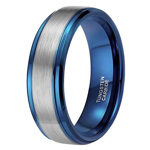 8mm Blue Tungsten Wedding Ring Band for Men Brushed Two Tone Stepped Edge Comfort Fit Size 10.5