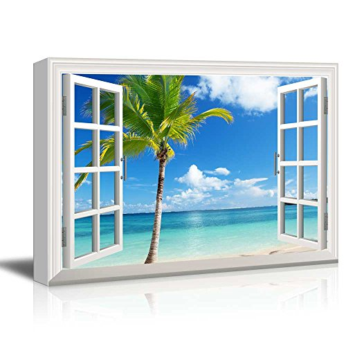 Canvas Print Wall Art - Window Frame Style Wall Decor - Beautiful Scenery/Landscape Palm Tree on Tropical Beach | Giclee Print Gallery Wrap Modern Home Decor. Stretched & Ready to Hang - 24