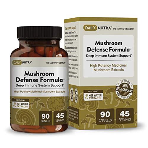 Mushroom Defense Formula – Deep Immune System Support – Medicinal Mushrooms Hot Water Extracted – Reishi, Chaga, Maitake, Shiitake Turkey Tail