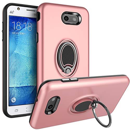 Galaxy J7 V 2017 Case,Galaxy J7 Prime / J7 Perx / J7 Sky Pro/Halo Case,SUSAA 360 Degree Metal Ring Holder Kickstand Protective Phone Case for Samsung J7V 2017 Rose Gold