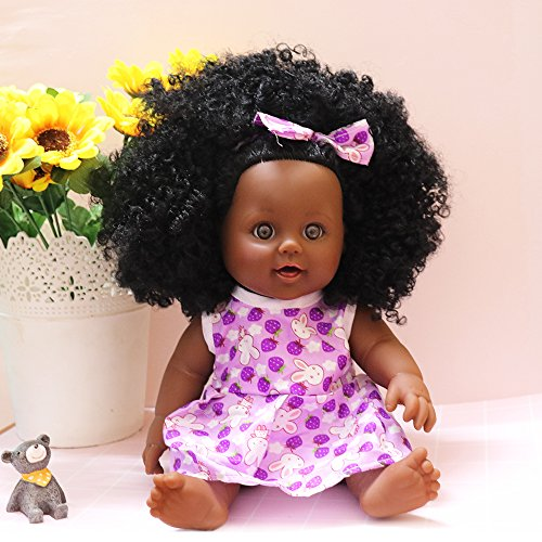 Raven Baby Doll (Nice2You Fashion Play Black Doll for Children Africa American Girl Doll Lifelike 12 inch Baby Dolls for Kids Christmas Gift (Purple Strawberry))