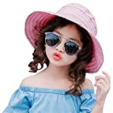 PT FASHIONS Summer Wide Brim Foldable Sun Hat Beach UPF 50+ Visor Cap Women Kids-Kpalepink