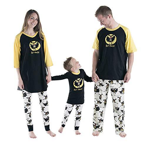Winsummer Matching Family Pajamas Glow in Dark Boys Pjs for Girls Halloween Bat Theme Cotton Clothes Sleepwear Set -