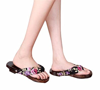 YUCH Kleidung Frauen Hausschuhe mit Nationalen Wind Prise und Sommer Sandalen,Schwarz,38,