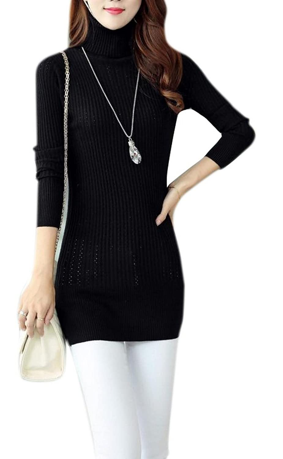 Lingswallow Women's Casual Stretch Turtleneck Knit Pullover Sweater Dress