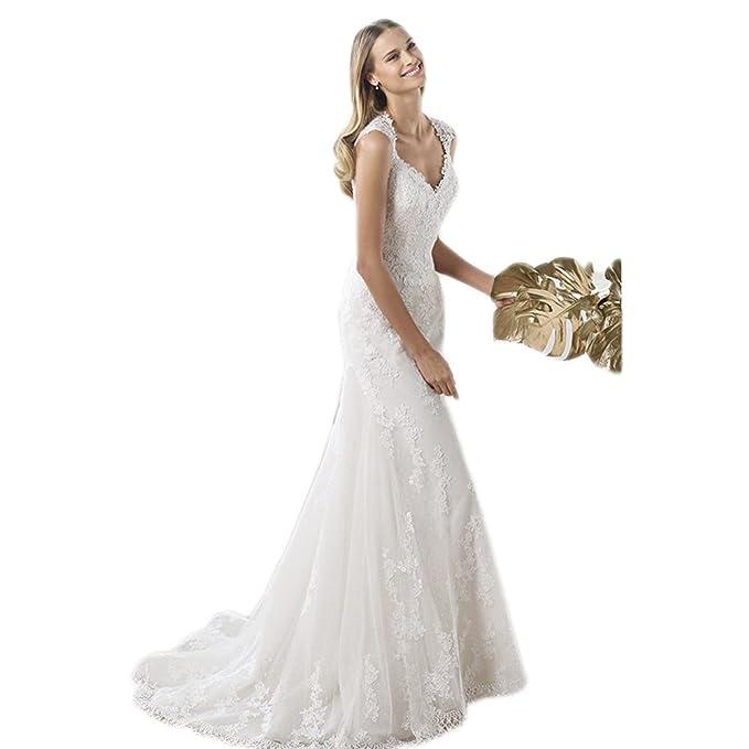 WeWind Vestido de Novia Atractivo Ropa Blanca de Boda Rastrero como la Cola de pez Cinturo