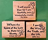 #6: Scripture Rubber Stamp Set of 3, Wood Mounted