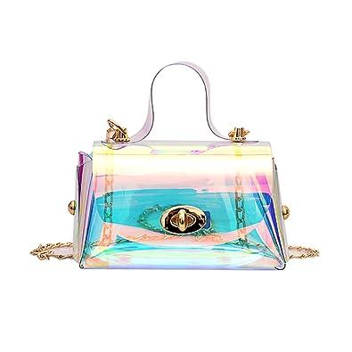 Amazon.com: Bolsas holográficas transparentes para hombro ...