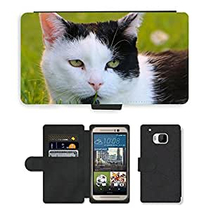 CARD POCKET BOOK CASE PU LEATHER CASE // M00103772 Grass Animales Mascotas Cat Head // HTC One M9