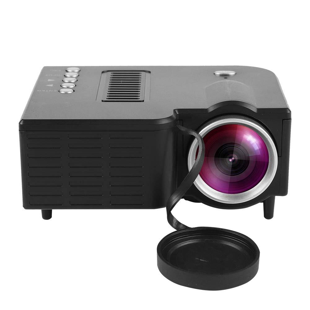 ASHATA Mini Proyector HD,1080P Projector Portá til (16: 9 y 4: 3 / hasta 100, 000 Horas/Compatible con HDMI/VGA / AV/USB / SD/Apoyo 23 Idiomas) (Blanco)
