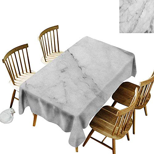 DONEECKL Marble Durable Tablecloth Washed Granite Surface Motif with Sketch Nature Effect and Cracks Antique Style Image Grey Dust White W54 xL72