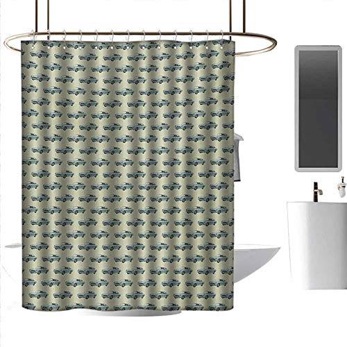 Shower Curtains Tumblr Vintage,Retro Sports Car Pattern with Classic Vehicle on a Pastel Background,Slate Blue and Pale Green,W108 x L72,Shower Curtain for Women ()