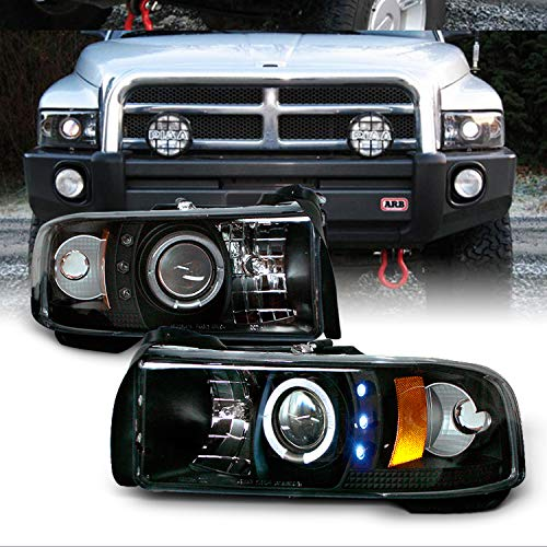 For Dodge Ram 1500/2500/3500 Pickup Black Dual Halo Ring LED Projector Replacement Headlights Left/Right ()