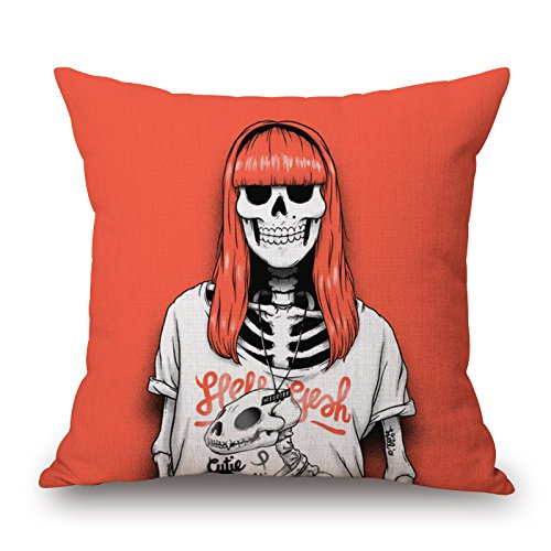[Loveloveu Pillowcover 20 X 20 Inches / 50 By 50 Cm(two Sides) Nice Choice For Drawing Room,boys,play Room,father,club,couch Slimmingpiggy Comfortable Bedding A Skeleton Girl With Orange Sea Hair] (Hot Dog On A Stick Costumes)