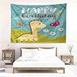Sunnyhome Rectangular Tapestry,Dinosaur Party Friend Baby Dino,Beach Tapestry,W60x40L