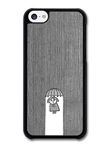 Cool Minimalist Lady with Umbrella in the Illustration Rain case for iPhone 5C