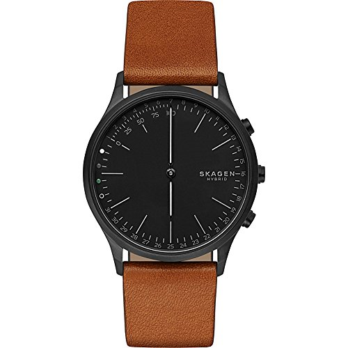 Skagen Connected Men's Jorn Stainless Steel and Leather Hybrid Smartwatch, Color: Black, Brown (Model: SKT1202)