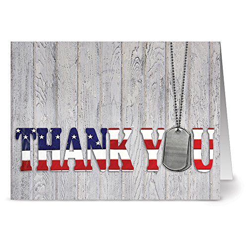- Thank You for Your Service - 36 Patriotic Note Cards - Blank Cards - Red Envelopes Included
