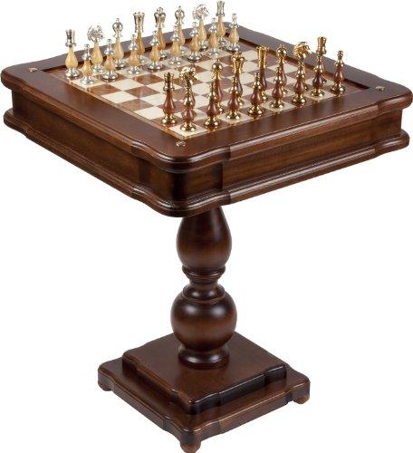 Bello Games Collezioni - Francesca 24K Gold/Silver Chessmen & Verona Game Center Table From Italy
