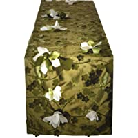 Wildflower Linen Twilight: Break Dawn Part I Lily Pond 90x18 Runner, Moss Green