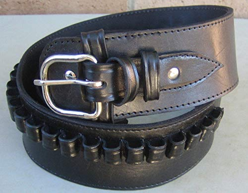 NEW! BLACK Deluxe Cartridge Belt Single Action SASS Gun Genuine Leather Style 38/357 cal LC Ammo Loops Western Cowboy Gun Pistol By (Deluxe Cartridge Belt)